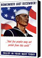 Vintage Canvas Prints - Enlist In Your Navy Today Canvas Print by War Is Hell Store