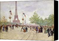 Tourists Painting Canvas Prints - Entrance to the Exposition Universelle Canvas Print by Jean Beraud