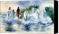 Horse Painting Canvas Prints - Entre ciel et eau Canvas Print by Josette SPIAGGIA