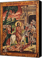 Icon Byzantine Canvas Prints - Entry of Christ into Jerusalem  Canvas Print by Camelia Apostol