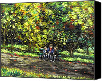 Giclee Trees Canvas Prints - Eoin Miraim And Cian In Botanic Gardens Canvas Print by John  Nolan