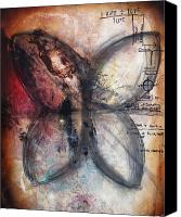 Live Art Canvas Prints - EQUATIONS Butterfly Painting Canvas Print by Heather Offord