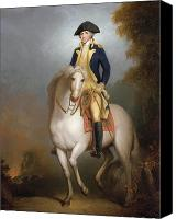 Horseback Canvas Prints - Equestrian portrait of George Washington Canvas Print by Rembrandt Peale
