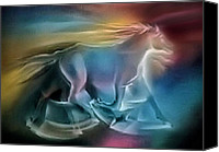 Wild Horse Pastels Canvas Prints - Equus Caballuscomp 1984 Canvas Print by Glenn Bautista
