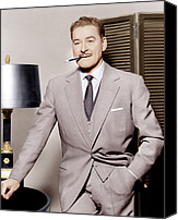 Gray Suit Canvas Prints - Errol Flynn, Ca. 1950s Canvas Print by Everett