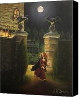 Manor Painting Canvas Prints - Escape from Raven Manor Canvas Print by Karen Coombes
