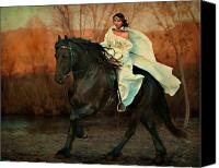 Black Horse Canvas Prints - Escape Canvas Print by Jean Hildebrant