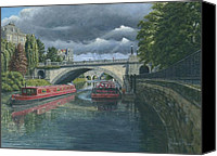 Parade Painting Canvas Prints - Escaping the Storm North Parade Bridge Bath Canvas Print by Richard Harpum