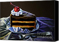 Dessert Drawings Canvas Prints - Espresso Cake Canvas Print by Hillary Scott
