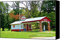 Old Things Canvas Prints - Esso Station Canvas Print by Pauline Ross