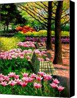 Park Benches Canvas Prints - Eternal Spring Canvas Print by John Lautermilch