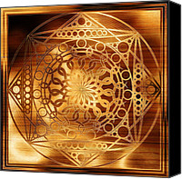Harmonic Canvas Prints - Eternity Mandala Golden Zebrawood Canvas Print by Hakon Soreide