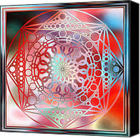 Harmonic Canvas Prints - Eternity Mandala Red and Turquoise Canvas Print by Hakon Soreide