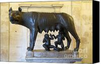 Works Canvas Prints - Etruscan bronze statue of the she-wolf with Romulus and Remus. Capitoline Museum. Capitoline Hill. R Canvas Print by Bernard Jaubert
