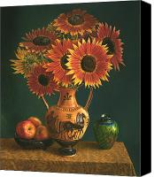 Cent Canvas Prints - Etruscan Vase and Red Sunflowers Canvas Print by Lyndall Bass