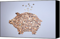 Cent Canvas Prints - Euro Coins Falling Into A Piggy Bank Made From Arranged European Coins Canvas Print by Larry Washburn