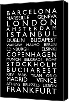 Text Map Canvas Prints - Europe Cities Bus Roll Canvas Print by Michael Tompsett