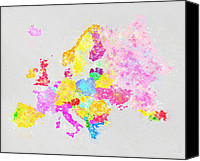 Water Pastels Canvas Prints - Europe map Canvas Print by Setsiri Silapasuwanchai