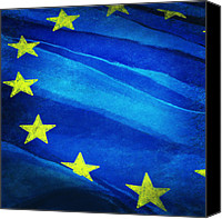 Brussels Canvas Prints - European flag Canvas Print by Setsiri Silapasuwanchai