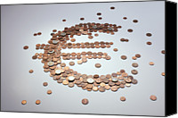 Cent Canvas Prints - European Union Coins Arranged Into The Shape Of A Euro Symbol Canvas Print by Larry Washburn