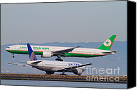 Airways Canvas Prints - EVA Airways And United Airlines Jet Airplanes At San Francisco International Airport SFO . 7D12256 Canvas Print by Wingsdomain Art and Photography