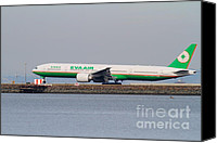 Airways Canvas Prints - EVA Airways Jet Airplane At San Francisco International Airport SFO . 7D12260 Canvas Print by Wingsdomain Art and Photography