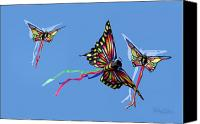 Kites Digital Art Canvas Prints - Even Butterflies Have Guardian Angels Canvas Print by Anthony R Socci