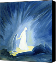 Darkness Painting Canvas Prints - Even in the darkness of out sufferings Jesus is close to us Canvas Print by Elizabeth Wang