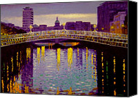 Lamps Painting Canvas Prints - Evening - Ha Penny Bridge- Dublin Canvas Print by John  Nolan