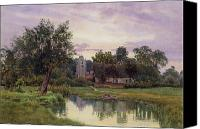 Watercolor On Paper Canvas Prints - Evening at Hemingford Grey Church in Huntingdonshire Canvas Print by William Fraser Garden
