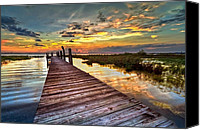 Beach Photograph Canvas Prints - Evening Dock Canvas Print by Debra and Dave Vanderlaan