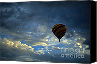 Hot Air Balloons Canvas Prints - Evening Flight Canvas Print by Bob Christopher