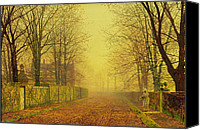 1884 Canvas Prints - Evening Glow Canvas Print by John Atkinson Grimshaw