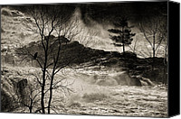 Ice Canvas Prints - Evening Great Falls Maine Canvas Print by Bob Orsillo
