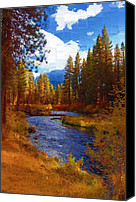 Trout Digital Art Canvas Prints - Evening Hatch on the Metolius River Painting 2 Canvas Print by Diane E Berry