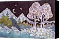 Night Tapestries - Textiles Canvas Prints - Evening in a Gentle Place Canvas Print by Carol Law Conklin