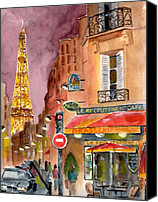 Original Art Canvas Prints - Evening in Paris Canvas Print by Sheryl Heatherly Hawkins