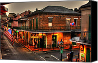 Sign Canvas Prints - Evening on Bourbon Canvas Print by Greg and Chrystal Mimbs