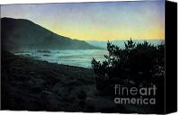 Textured Landscape Canvas Prints - Evening on the California Coast Canvas Print by Ellen Cotton