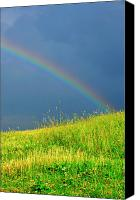 Family Farm Canvas Prints - Evening Rainbow over Pasture Field Canvas Print by Thomas R Fletcher