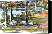 Mountain Scene Mixed Media Canvas Prints - Evening Shadows at Shepherd Mountain Lake  No W101 Canvas Print by Kip DeVore