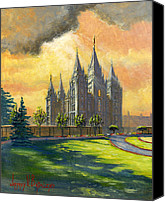 Mormon Painting Canvas Prints - Evening Splendor Canvas Print by Jeff Brimley