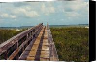 Florida Bridge Photo Canvas Prints - Evening walk to the beach Canvas Print by Toni Hopper