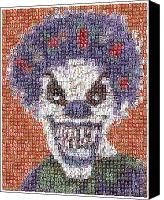 Devil Mixed Media Canvas Prints - Evil Clown Mosaic Canvas Print by Paul Van Scott