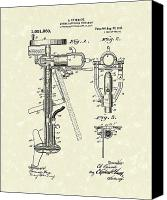 Antique Drawings Canvas Prints - Evinrude Boat Motor 1911 Patent Art Canvas Print by Prior Art Design