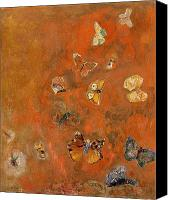 Colourful Canvas Prints - Evocation of Butterflies Canvas Print by Odilon Redon