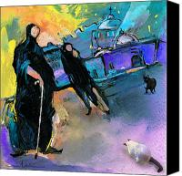 Impressionism Art Mixed Media Canvas Prints - ExcommuniCATed Canvas Print by Miki De Goodaboom