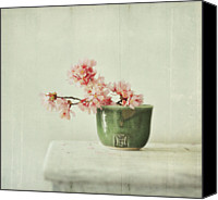 Pink Flower Branch Canvas Prints - Existence Opens Canvas Print by Dawn D. Hanna