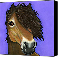 Pony Painting Canvas Prints - Exmoor Pony  Canvas Print by Leanne Wilkes