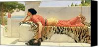 Woman Waiting Canvas Prints - Expectation Canvas Print by John William Godward